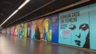 Mural dedicat a les dones cèlebres de la cultura universal que llueix a Ciutadella / Vila Olímpica L4