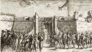 AHCB4-204/C04.03, registre 04726. Fragment: [1802. Entrada dels reis Carles IV i Maria Lluïsa a Barcelona. Autoritats de la ciutat i seguici esperen per rebre el rei davant del portal de Sant Antoni]