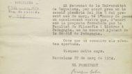 Comunicació del nomenament com a ajudant de la secció de Pedagogia del Patronat de la Universitat de Barcelona (5D72-21.17)