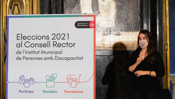 Pancarta de les Eleccions IMPD 2021 a l'acte de presentació de candidatures.