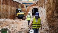 Obres d'ampliació del col·lector de la Diagonal, desdoblament, túnel subterrani