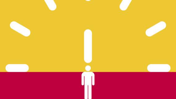 Banner groc i vermell del Temps per a tu.