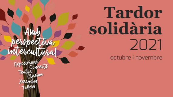 Banner Tardor Solidària. Un arbre amb fulles de colors.